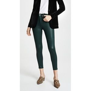 L'AGENCE Margot Coated Moss High Rise Skinny Jeans
